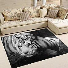 Use7 Teppich mit Tiger-Motiv für Wohnzimmer,