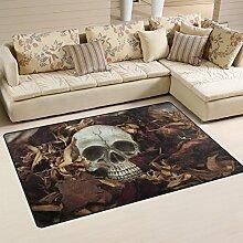Use7 Teppich mit Totenkopf-Motiv, rutschfest,