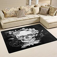 Use7 Teppich mit Totenkopf-Motiv, Schwarz / Weiß,