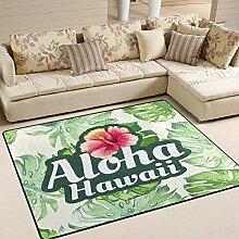 Use7 Teppich mit tropischen Monstera-Blättern,