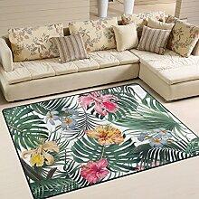Use7 Teppich mit tropischen Palmenblättern und