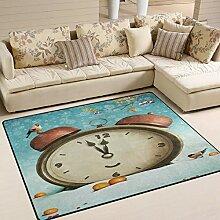 Use7 Teppich mit Vogel, Schneeflocke, Baum, Uhr,