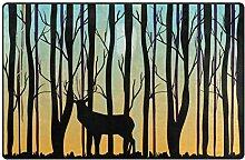 Use7 Teppich mit Waldbaum und Hirsch,