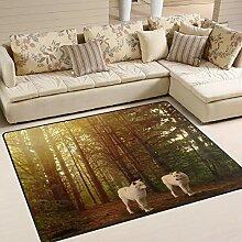 Use7 Teppich mit Waldlandschaft, naturweiß, Wolf,
