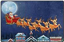 Use7 Teppich mit Weihnachtsmann und Rentier und