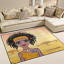 Use7 Teppich, Motiv: Afrikanisches Mädchen mit