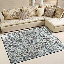 Use7 Teppich, Motiv Dollar, für Wohnzimmer,