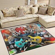 Use7 Teppich, Motiv Gitarren, für Wohnzimmer,