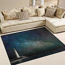 Use7 Teppich, Motiv Leuchtturm bei Nacht,
