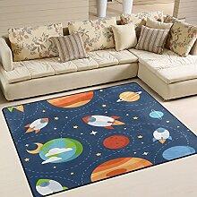 Use7 Teppich, Motiv: Rakete mit Weltraum und