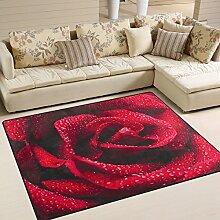 Use7 Teppich, Motiv Rote Rose mit Regentropfen,
