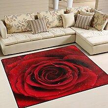 Use7 Teppich, Motiv Rote Rosen mit Regentropfen,