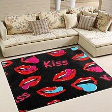 Use7 Teppich, Mund mit Kusslippen, Rot/Schwarz,