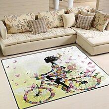 Use7 Teppich, Romantisches Mädchen auf Fahrrad,