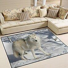 Use7 Teppich, Wolf im Winter, Schneebereich, für