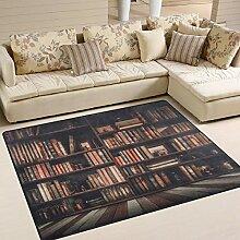 Use7 Vintage Bücherregal, Bücherwurm-Teppich,
