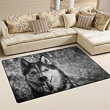 Use7 Vintage Wolf Hund Retro Teppich