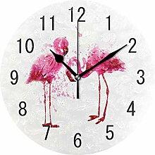 Use7 Wanduhr, Acryl, Motiv: rosa Flamingo, mit
