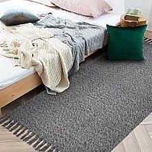 Ustide Grauer gewebter Teppich mit Quasten aus