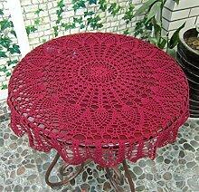 ustide hansenne Stil kleine runde Tischdecke HANDARBEIT Häkel-Tischdecke Hochzeiten Spitze Baumwolle Tischdecke Pflanze Blumen Muster 78,7cm