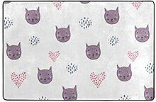 Usting Badezimmerteppich mit Katzenkopf und