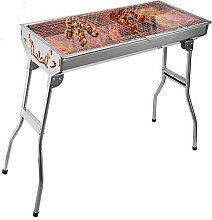 Uten tragbarer Klappgrill Holzkohlegrill Picknickgrill für Garten Camping Party BBQ ca. 74 x 33 cm Grillfläche (Groß)