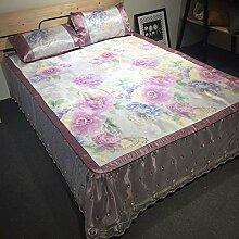 uus Abnehmbare Bett Rock Eis Seide Sommer Bett Matte dreiteilig 1,5m weichen Falten 1,8 Meter Sommermatte kann gewaschen klimatisierte Bettlaken ( Farbe : A , größe : 1.8m ( 6 inch) )