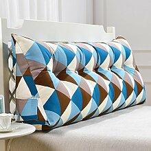 uus Blaue quadratische Dreieck-Sofa-Kissen-Bett-Kopf-Kissen-ergonomische Entwurfs-Lehne und Taille umweltsmäßig waschbare Abdeckung mit 3D hoch-elastischer Perlen-Baumwollfüllung ( größe : 120cm(4 Buttons) )
