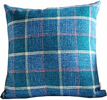 uus Blaues quadratisches Muster-Sofa-Kissen-Stuhl-Kissen-Abdeckungs-reine Farbe Verdicken Sie Leinen Material Breathable Gute QualitätPP Baumwolle ( ausgabe : Cover , größe : 55*55cm )