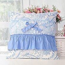 uus Blue Pastoral Lovely Sofa Kissen Set Herz / quadratisch / rund / Süßigkeiten Form Kissen 4 Stück One Set Oder ein Einzelstück Prinzessin Style Abnehmbarer Bezug und waschbar Füllung innen für Sofa / Bett / Fenster ( Farbe : Square A )