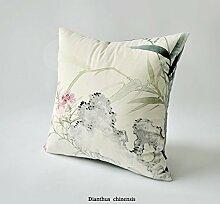 uus Chinesische traditionelle Malerei Sofa Kissenbezug Classic Style Rückenlehne Wurf Kissen Kissenbezug ( Farbe : E , größe : 55*55cm )
