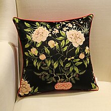 uus Der neue Art- und Weiseart-Stuhl-Flanell-gestickte Nachttisch-Sofa-Kissen-Kissen-Kissen mit innerem Kern-gute Qualitätssofa-Kissen-schöner Stuhl-Kissen ( Farbe : Schwarz , größe : 50*50cm )