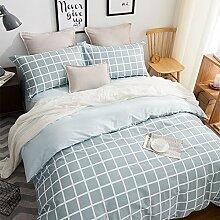 uus Einfache Blaue Quadratische Bettwäsche 4 Satz Streifen Baumwolle Denim Baumwolle Bettwäsche Blatt Bettbezug Kissenbezüge Geeignet Für 1,5 / 1,8 / 2 M Bett ( größe : 2.0 M Bed )