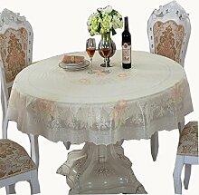 uus Einfache europäische Muster Tischdecke PVC Wasserdichte Tischdecke reine Farbe Wasserdichte Tischdecke Pastorale Stil Schützen Sie Ihre Tabelle OD = 180CM Beige Farbe ( MUSTER : A )