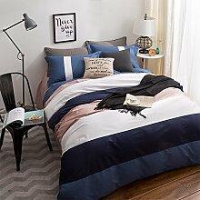 uus Einfache Moderne Bett Vier Set Blauen Streifen Baumwolle Denim Baumwolle Bettwäsche Blatt Bettbezug Kissenbezüge Geeignet Für 1,5 / 1,8 / 2 M Bett ( größe : (1.5 M 1.8 M Bed Bed) )
