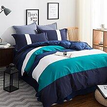 uus Einfache Moderne Bett Vier Set Blauen Streifen Baumwolle Denim Baumwolle Bettwäsche Blatt Bettbezug Kissenbezüge Geeignet Für 1,5 / 1,8 / 2 M Bett ( größe : 2.0 M Bed )