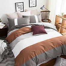 uus Einfache Moderne Bett Vier Set Braun Streifen Baumwolle Denim Baumwolle Bettwäsche Blatt Bettbezug Kissenbezüge Geeignet Für 1,5 / 1,8 / 2 Mt Bett ( größe : (1.5 M 1.8 M Bed Bed) )