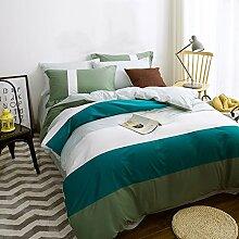 uus Einfache moderne Bett vier Set Green & White Streifen Baumwolle Denim Baumwolle Bettwäsche Blatt Quilt Abdeckung Kissenbezüge geeignet für 1,5 / 1,8 / 2m Bett ( größe : (1.5 M 1.8 M Bed Bed) )