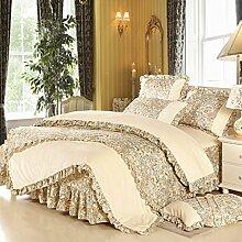 uus Einfarbig Bett Vier Romantische Vierteilige Natürliche Baumwolle Bettwäsche Bettwäsche Bettwäsche Bettwäsche Für 1,8m Bett Anwendbar ( Farbe : A )