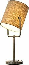 uus Europäische Nachttischlampe Schlafzimmer Lampe Licht Kreative Mode Einfache moderne Nordic Tischlampe Wohnzimmer ( Farbe : Leinen , größe : M )