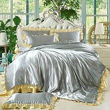uus Festes Bett Set Von Vier Sommer Cool Ice Silk Bett Auf Der Solid Color Einer Familie Von Vier Bettlaken * 1 Quilt * 1 Kissenbezüge * 2 Bettwäsche Geeignet Für 2 M Bett ( Farbe : G )
