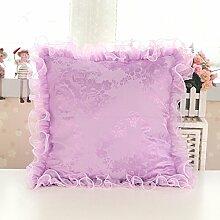 uus Lila Sofa Kissen / Kissen Set Herz / quadratisch / rund / Candy Form mit abnehmbare schöne Lace Side Cover Waschbare Qualität Pearl Cotton Füllen Blumenmuster für Sofa / Fenster / Bett / Auto ( form : Platz )