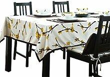 uus Moderne einfache Tischdecke weiße Farbe mit Blumenmuster Baumwollmaterial Mehr freundliche und umweltfreundliche verschiedene Größen für Ihre Wahl ( größe : 140*90cm )