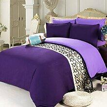 uus Modernes Bett Vier Set Hochwertige Europäische Stil Luxus 100% Baumwolle Bettlaken * 1 Quilt * 1 Kissenbezug * 2 Bett Vierteilige Solide Verdicken Vier Stück 1,5 M Bett ( Farbe : D )