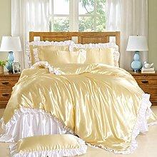 uus Modernes Populäres Bett-gesetztes Silk Bett Auf Der Normallack Der Vierteiligen Bettlaken * 1 Steppdecke * 1 Kissenbezug * 2, Bettwäsche-1.5M Bett ( Farbe : E )