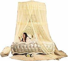 uus Moskitonetze Kuppel Moskitonetze Hängende Decke Prinzessin Wind Europäischer hängender Palast runder 1.5 M 1.8M Bett-Mantel-Doppeltes ( Farbe : Gelb , größe : 2.0m Bed )