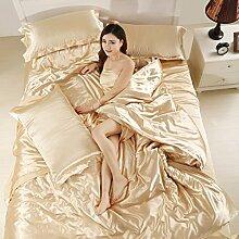 uus Pure Cotton Bed Four Set Eis Seide Cool Soft Vier-Stück Warm Double-Layer-Baumwolle Vier-Stück, Einfache Stil Bett Vier Sets, 1,5 / 1,8M Bett ( Farbe : J , größe : 1.5m )