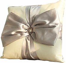 uus Quadratische Bogen-Knoten Sofa Kissen Abnehmbare Abdeckung Mit Guter Pp Baumwolle Füllen Sofa Bett Fenster Kissen ( Farbe : Grau )