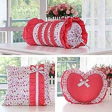 uus Red Sofa Kissen / Kissen Set Quadrat / Herz / Süßigkeiten Form Sofa Kissen abnehmbar waschbar Abdeckung und gute Qualität Füllung für Sofa / Bett / Fenster Modern Pincess Style ( Farbe : One Set 3 Pieces )