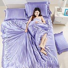 uus Solid Cotton Soft Vierteilige, Warme Doppelschicht Baumwolle Vierteilige, Einfache Art Bed Quartett, 2 / 2.2M Bett ( Farbe : L , größe : 2.2m )